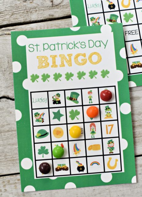 St. Patrick's day bingo - kid games - kid activities for St. Patrick's day
