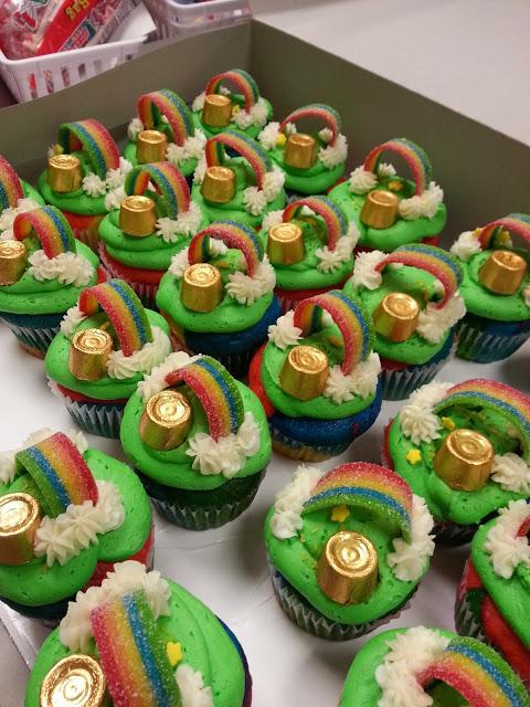 St. Patrick's day treats - kid treats - rainbow cupcakes