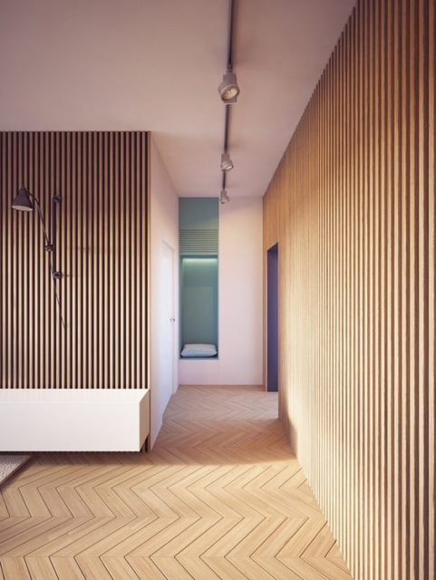 Wood wall treatments - Modern Walls - Wood design - Wood wall accents - Wood paneling