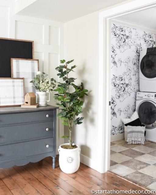 Wallpaper treatments | Wall Accents | wallpaper design | floral wallpaper | laundry room