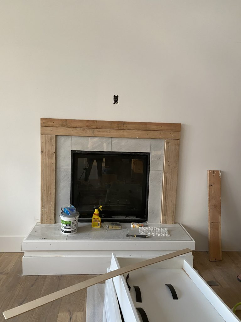 DIY Fireplace | Finish Work on a fireplace | Home Building | Wood and Tile fireplace