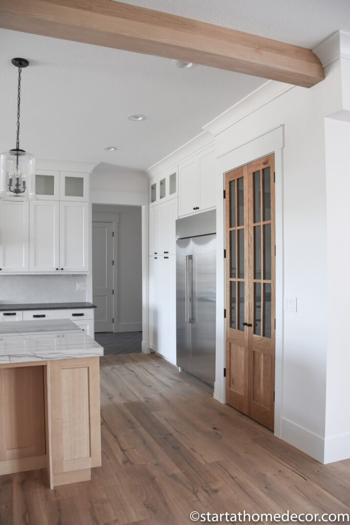White Oak Pantry Doors | White Oak cabinets | White Kitchen