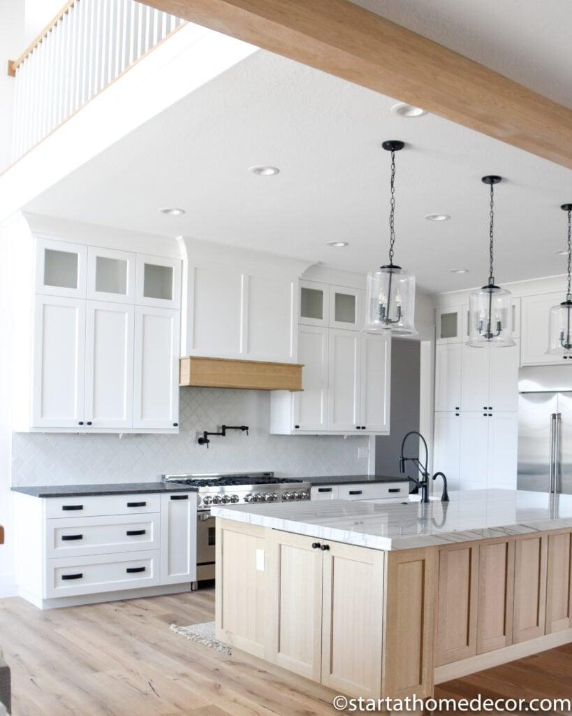 Cottage Style Kitchen | Start at Home Decor | Pendants | Wood Island