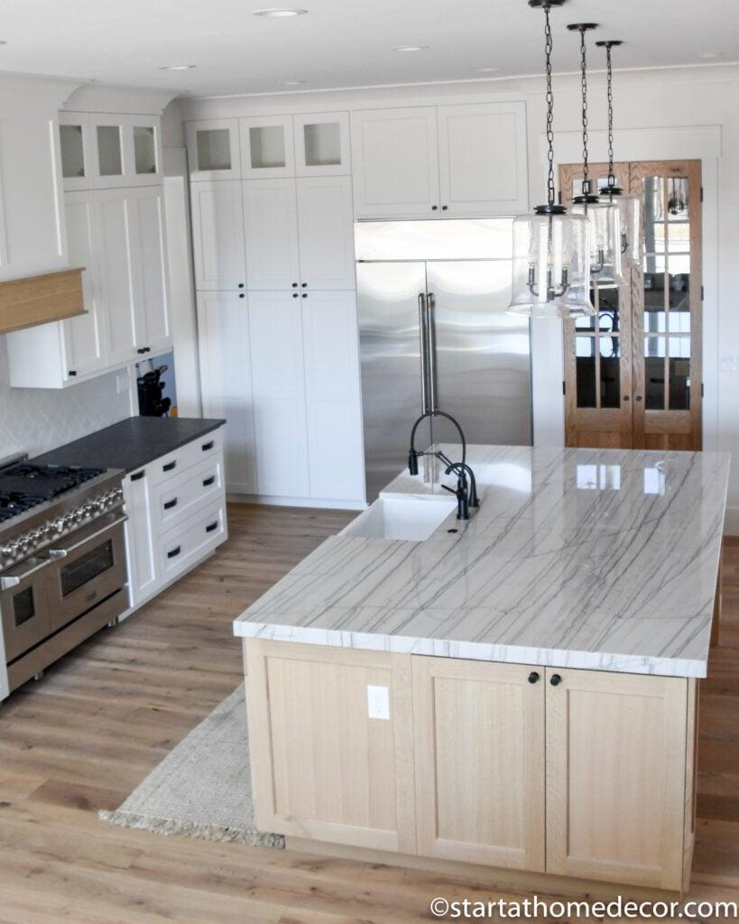 Quartzite countertops | Quarter sawn White Oak Cabinets | Start at Home Decor
