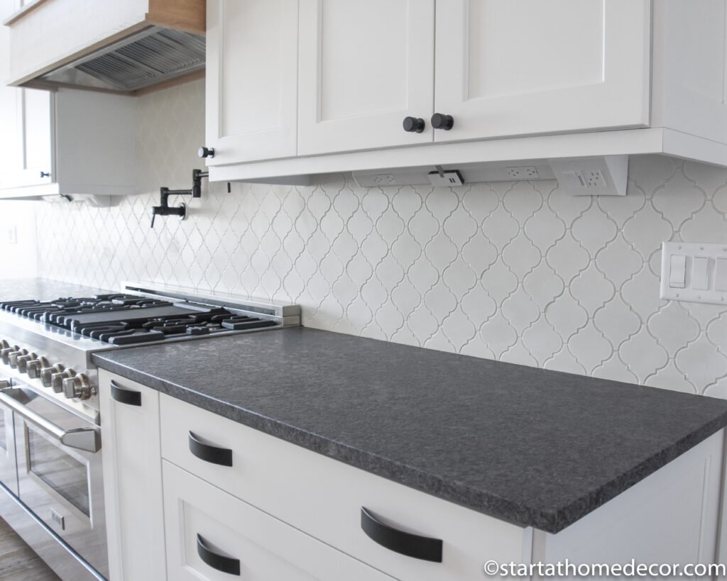 White cabinets, black counter tops | Black hardware | Start at Home Decor