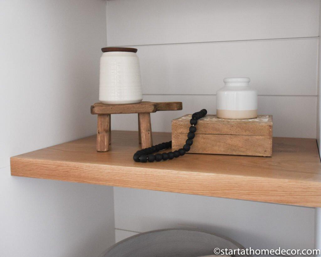 Floating shelves | Open Shelves |Built-in Shelving | Farmhouse decor | Neutral Decorating | Start at Home
