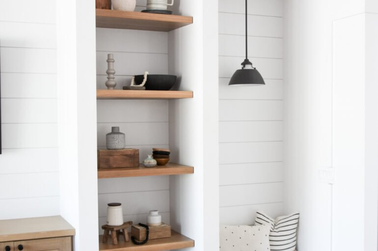 How to Style Neutral Floating Shelves