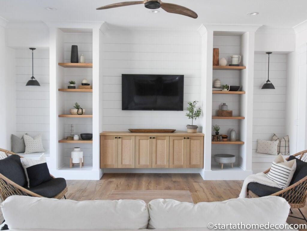 Family Room | Entertainment Center | Farmhouse Style | Open shelves | Built-ins