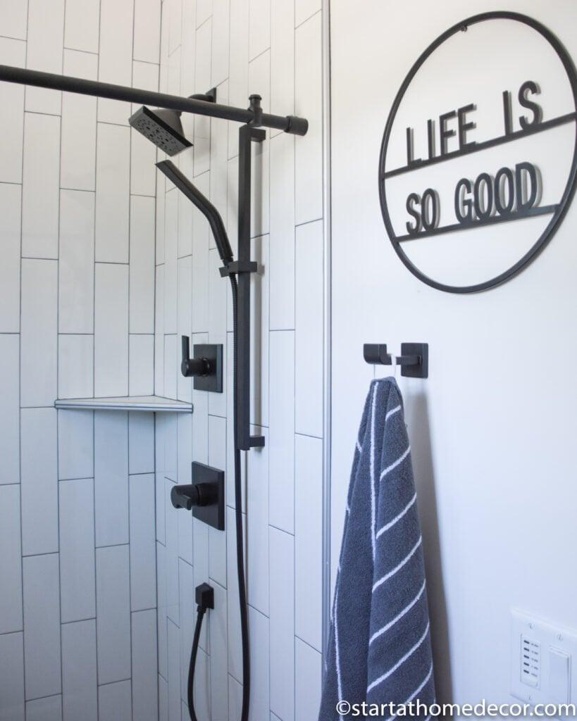 Black and White bathroom | Modern Farmhouse | black and white tile | Start at Home