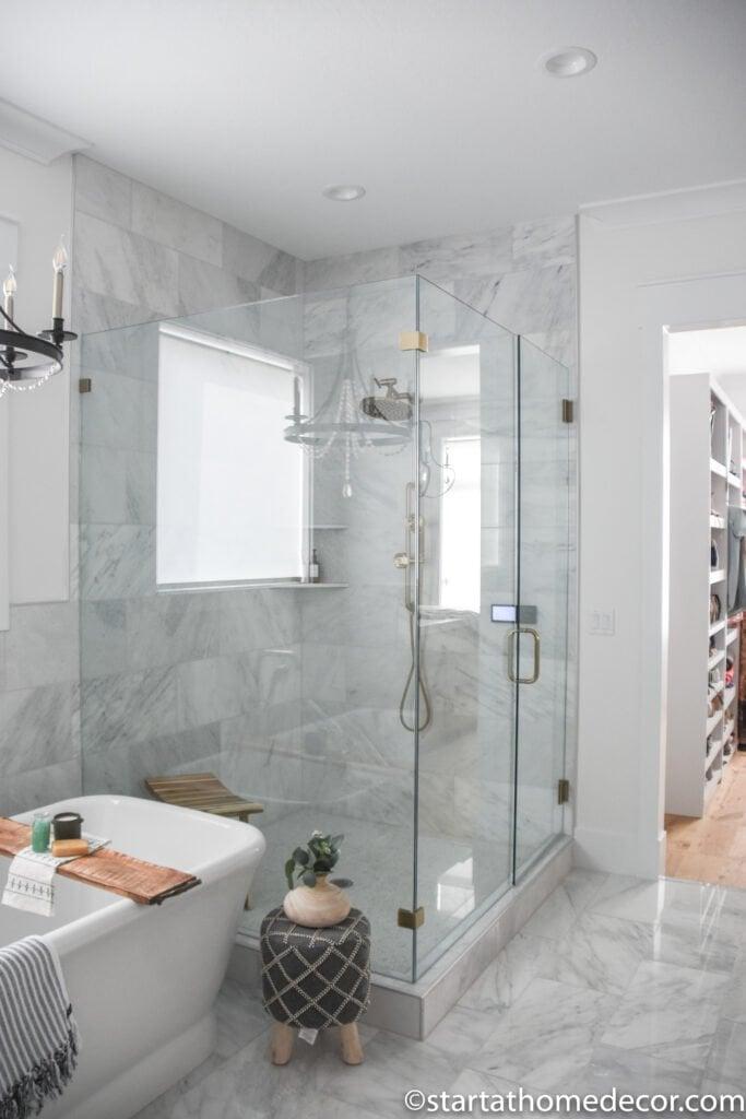 master bathroom | farmhouse style | marble bathroom | glass shower