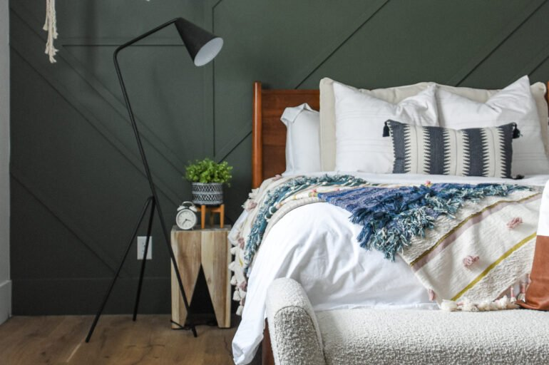 Mid Century Modern Bedroom with a Touch of Boho